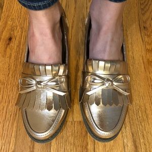 Sole Society metallic leather loafers